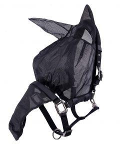 QHP Halfter Fliegenhauben-Kombi mit Ohren Schwarz