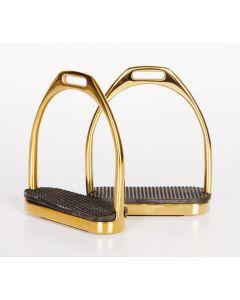 Harry's Horse Edelstahlsteigbügel, gerade, goldfarben 12cm