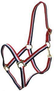 QHP Halfter mit Schiebeschnalle rot/weiß/blau