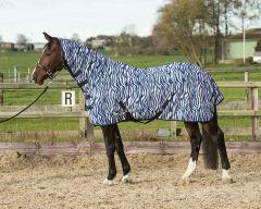 Harry's Horse fliegedecke mesh mit Gurten, zebra medival blue
